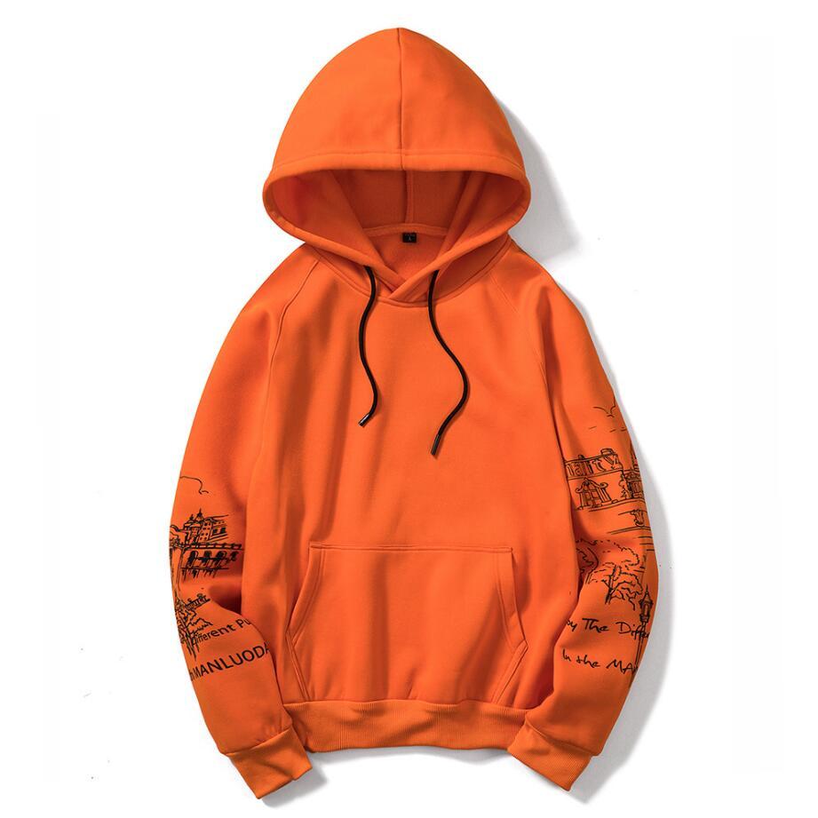 EU Size Sketch Print Orange Hoodies Men's Thicken Clothes Winter Sweatshirts Men Hip Hop Streetwear Solid Fleece Man Hoody