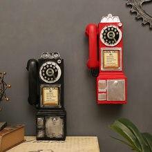 Vintage girar clássico olhar dial modelo de telefone público resina retro cabine telefone estatueta decoração para casa ornamento artesanato acessório