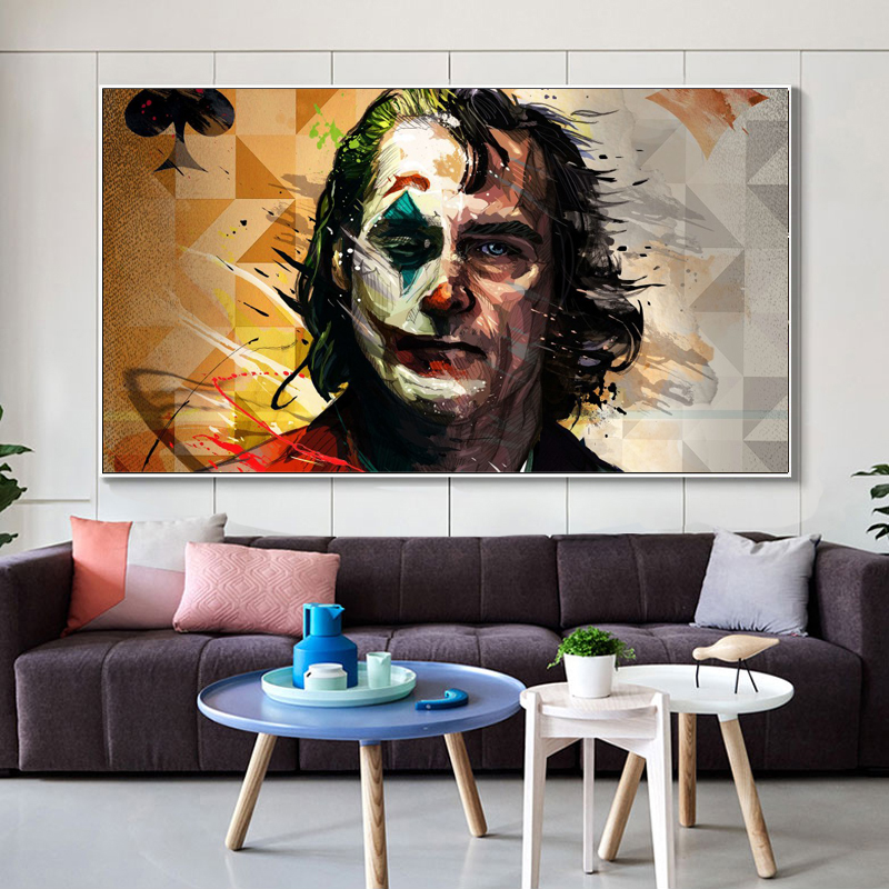 Wall Decoration Watercolor Movie Portrait Poster Print Wall Art Canvas Painting Joker Joaquin Phoenix Picture For Room Decor