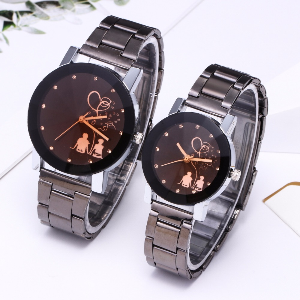 Couple Watch Clock Beloved Stainless-Steel Women's Luxury Fashion Montre Saati Femme title=