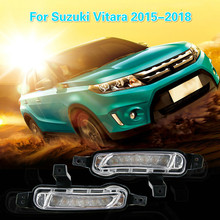 CSCSNL 1 set For Suzuki Vitara 2015 2016 2017 2018 12V ABS Fog Lamp DRL Daytime Running Light Car-styling Yellow turn signal