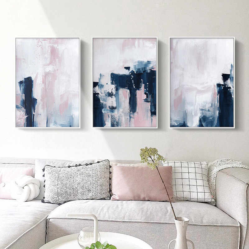 Pink Navy Brush Canvas Art Posters and Prints Abstract Painting Nordic Minimalist Wall Picture for Living Room Modern Home Decor