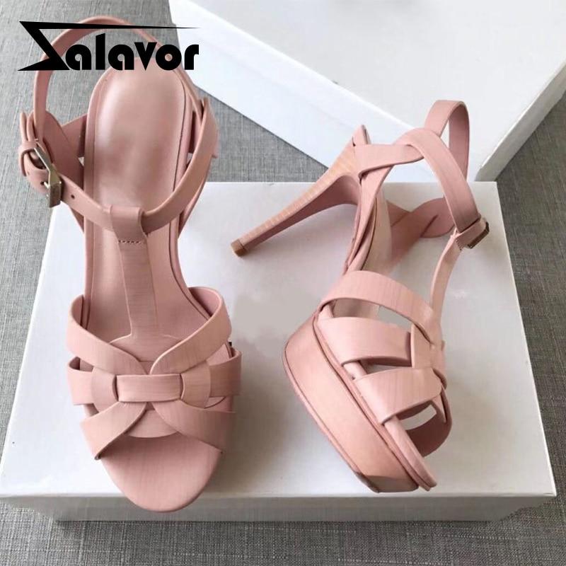 ZALAVOR Real Leather Women Sandals High Heels Brand New Designer Shoes For Women Sexy Platform Office Footwear Size 34-41