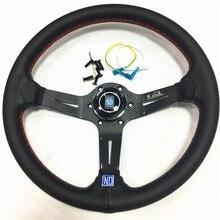 цена на Aluminum ND 14inch Real Leather Steering Wheel Drift Sport Steering Wheels carbon fiber look