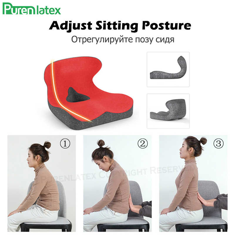 purenlatex chair lumbar pillow support seat cushion memory foam for lower back pain relief improve posture and protect your back
