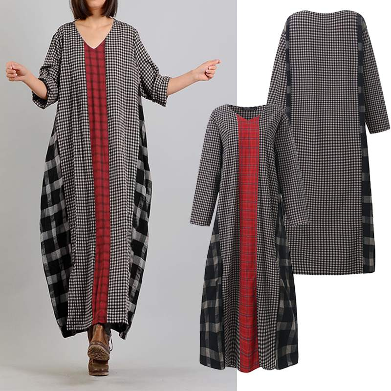 ZANZEA Women Plaid Checked Maxi Long DressSpring Vintage V neck Long Sleeve Sundress Loose Patchwork Vestido Kaftan Plus Size