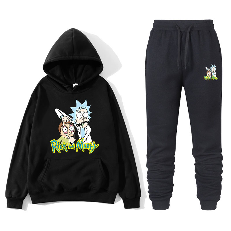 Rick And Morty Funny Coat Winter Warm Suit Mens Thick Sweatshirt+Pants 2 Piece Sets Groot Men Hoodies Loose Brand Mens Tracksuit