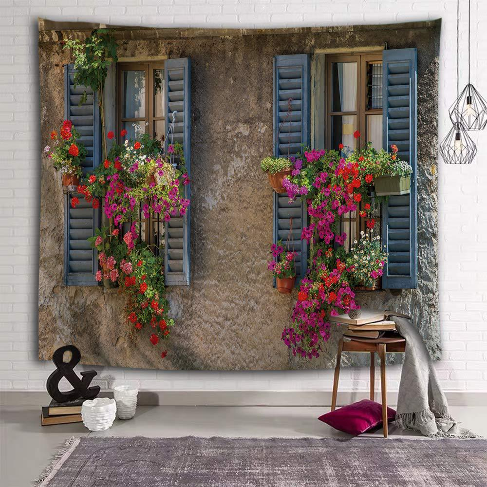 Pastoral Patio Garden Wall Tapestry Floral Backdrops Photography Background Cloth Table Cover Bedside Decor Paintings Mandala