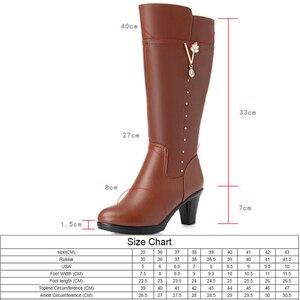 Image 2 - Botas de invierno de piel auténtica para mujer, botines cálidos de lana de tacón alto, de tendencia, para montar, talla 43, 2020