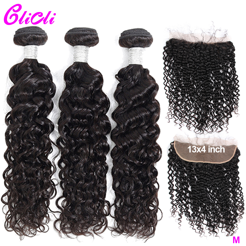 Peruvian Hair Bundles With Frontal Water Wave 13x4 Lace Human Hair 3 Bundles With Closure 150% 180% Density Remy Pre Plucked