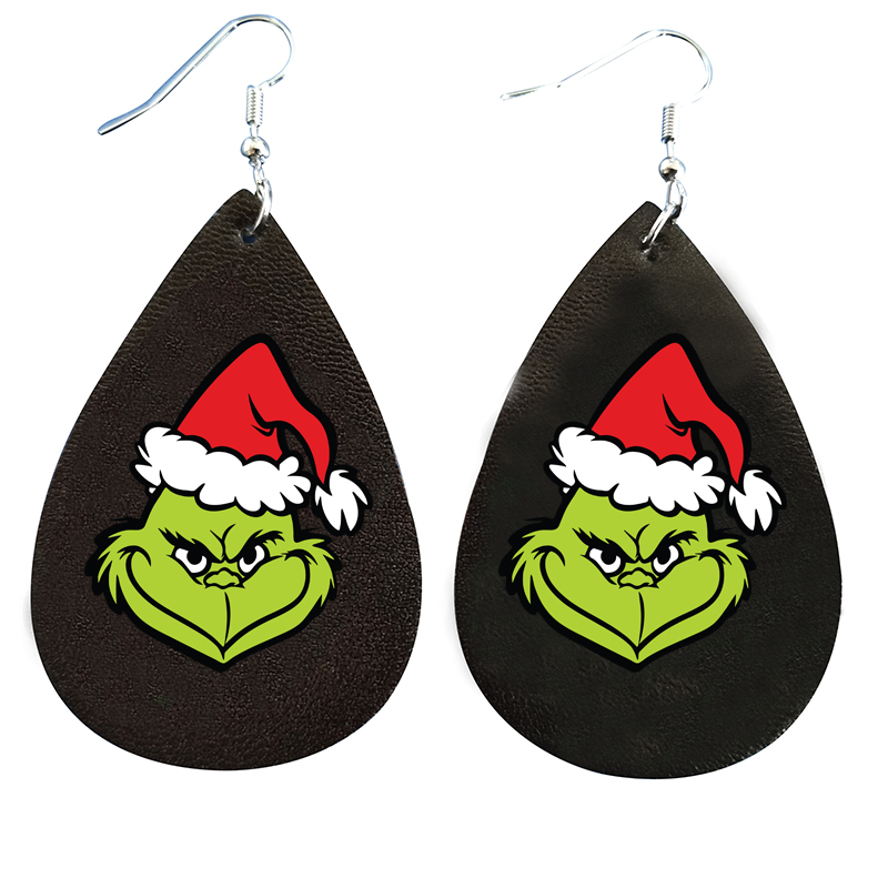 Grinch палантин с рождественской шляпой с принтом сердца серьги блестящая искусственная кожа каплевидный лист в наличии