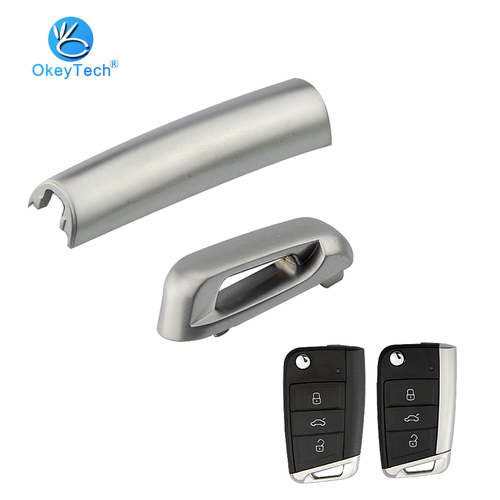 OkeyTech Car <font><b>Key</b></font> Side Tail Metal Part Matte for V W <font><b>Golf</b></font> <font><b>7</b></font> GTI MK7 T5 Skoda Octavia A7 Seat Flip Folding <font><b>Remote</b></font> <font><b>Key</b></font> Shell for VW image