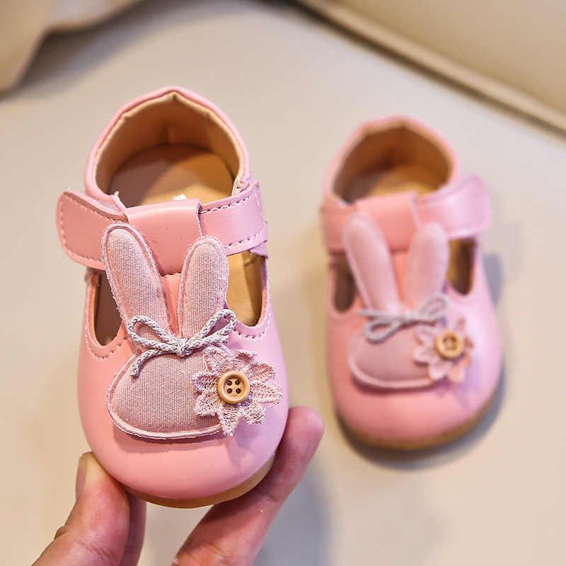 2020 סתיו חדש תינוק בנות נעלי אוזני ארנב T רצועת ילדים נעלי ילדי דירות החלקה כפתור נסיכת נעליים פעוטות 0-5y