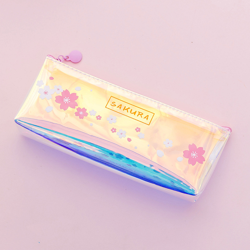 Laser cherry pen bag Beautiful pink girl heart stationery storage bag small fresh and simple transparent pencil bag in Pencil Bags from Office School Supplies