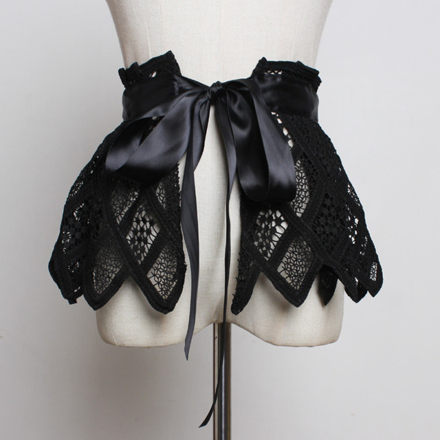 Hot Sale New Fashion Trendy Fashion Corset Belts For Women Solid Lace Panel Drawstring Wide Belt Sweat Mini Skirt Female ZK297