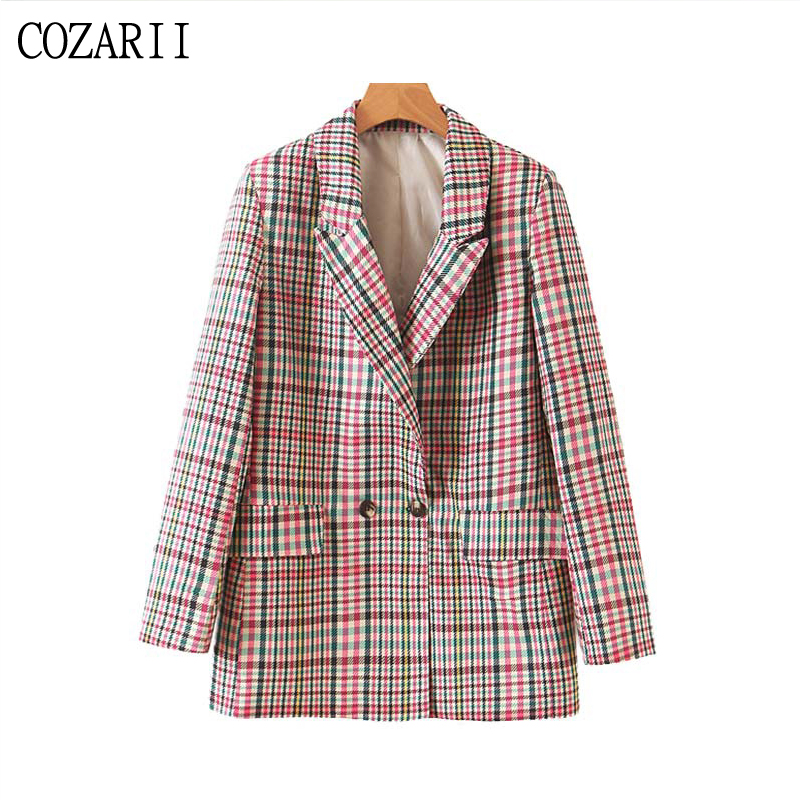 2019 Autumn double breasted plaid blazer mujer casual blazers and jackets long sleeve office work suit coat korean Outerwear