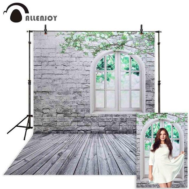 خلفية للتصوير من Allenjoy خلفية جدار من الطوب الأبيض نافذة غصين خلفية للاستوديو للأطفال الأميرة فتاة econ الفينيل photophone