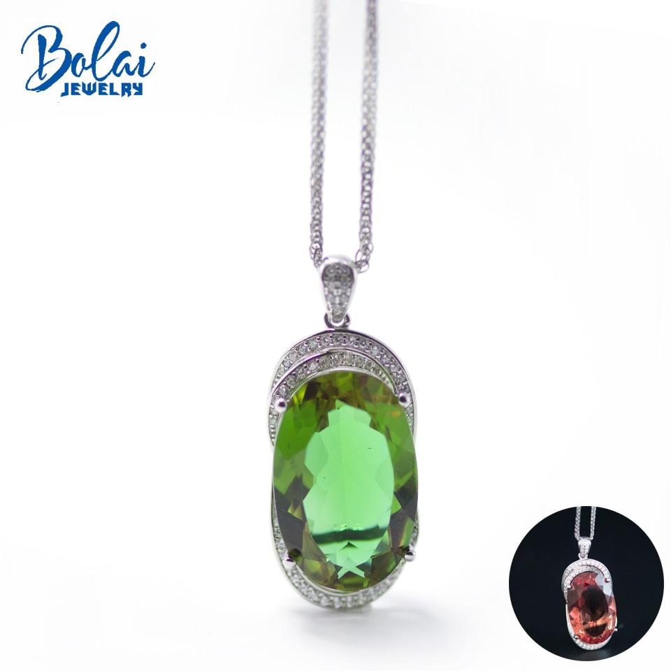Bolai changement de couleur grand zultanit pendentif collier 925 en argent sterling 22*14mm créé diaspora pierres précieuses bijoux fins pour les femmes