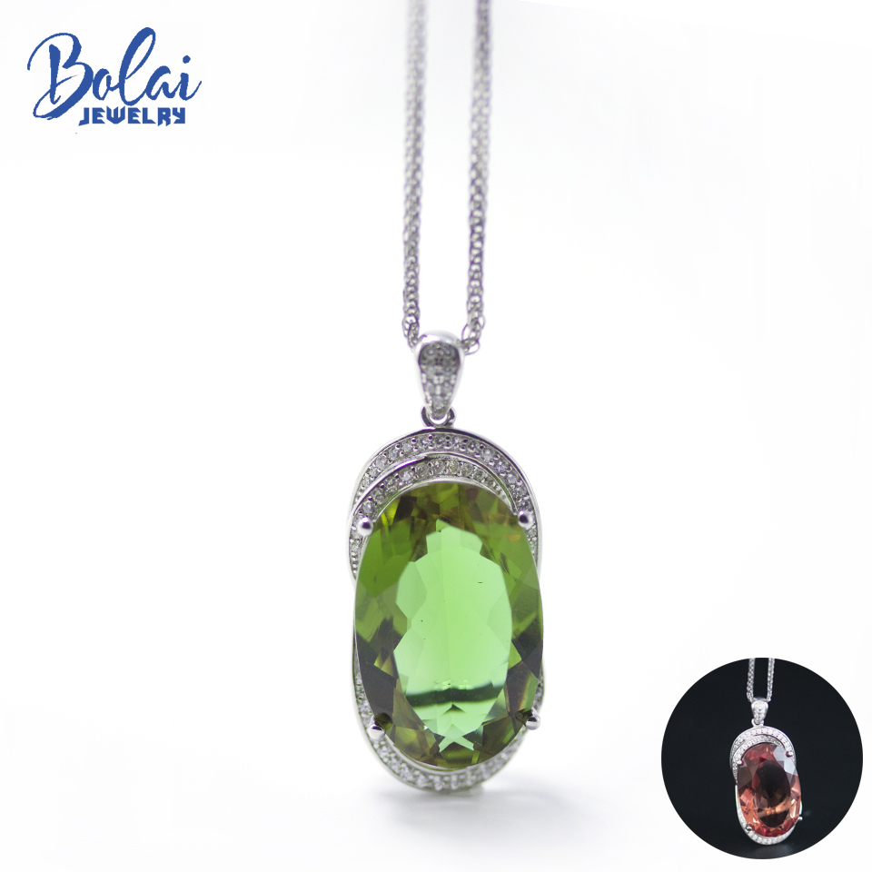 Bolai Color Change Big Zultanit Pendant Necklace 925 Sterling Silver 22*14mm Created Diaspore Gemstone Fine Jewelry For Women