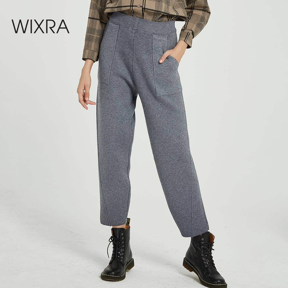 Wixra Casual Women's Knitted Pants Loose High Elastic Waist Warm Thick Ankle Length Trousers Autumn Winter Womens Clothing