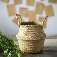 ABLA Seagrass Wickerwork Basket Rattan Foldable Hanging Flower Pot Planter Woven Dirty Laundry Hamper Storage Basket Home Decor patimate seagrass wickerwork garden flower pot foldable laundry straw patchwork planter basket bamboo rattan storage baskets