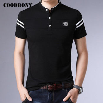 COODRONY Brand Summer Short Sleeve T Shirt Men Cotton Tee Homme Streetwear Fashion Stand Collar T-Shirt Clothes C5096S