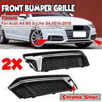 Glossy Black/Chrome Silver 2pc Car Front Fog Light Grill Grille Honeycomb Hex Lamp Cover For Audi A4 B9 S Line S4 2016 2017 2018