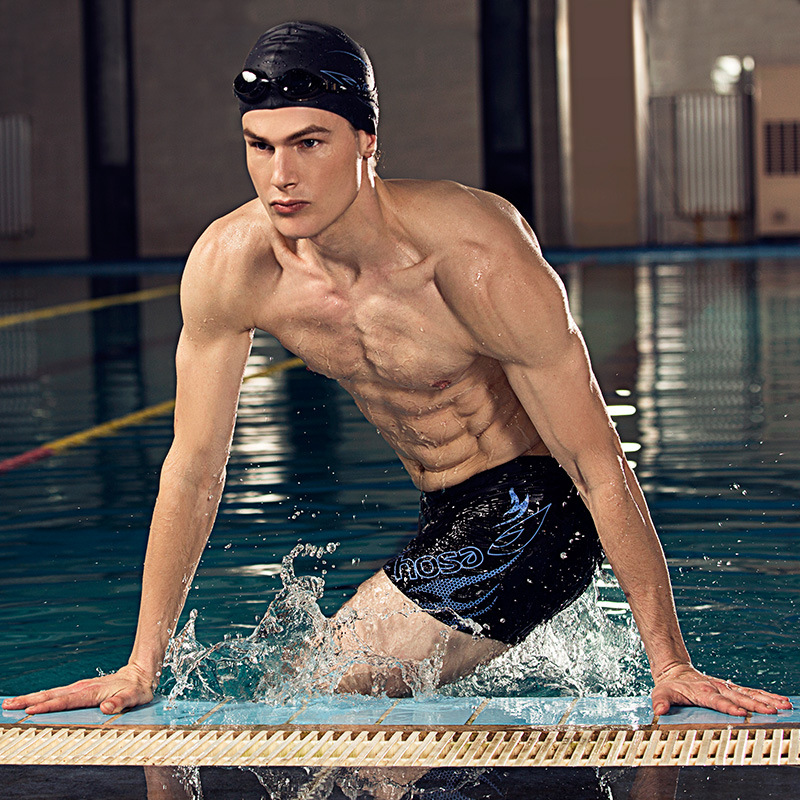 Swimming Trunks Men's Boxer Anti-Awkward Set Swimming Trunks Large Size Sha Tan Yi Adult Men Hot Springs Elasticity