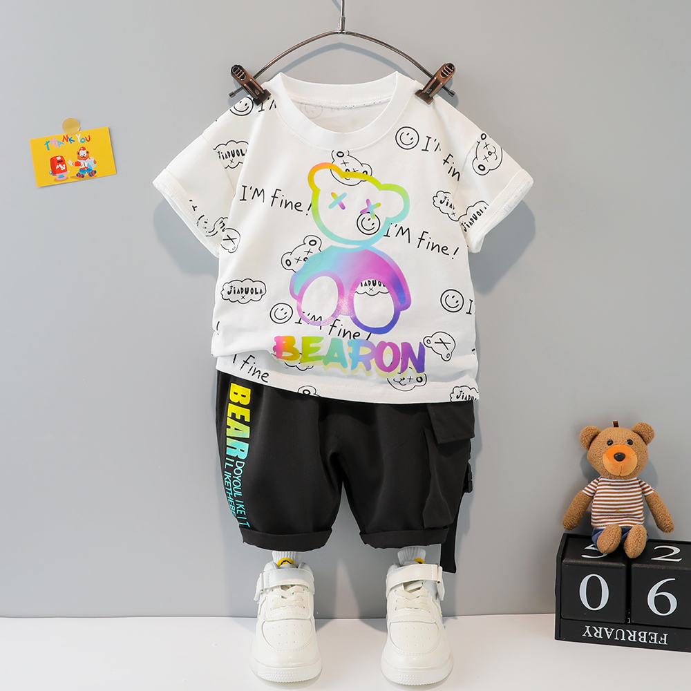 Summer Clothing for Boys Sets 1 2 3 4 Years Baby Girls Cartoon Bear T-shirt + Shorts 2PCS Infant Children Outfits Letter