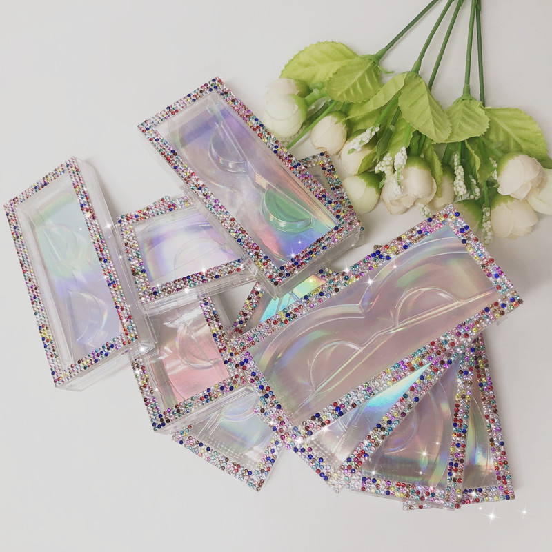 FDshine New Pattern Rhinestone Cases 10pcs/lot Natural Size Lashes Packaging For 18mm 20mm 22mm 5D 3D Mink Eyelashes
