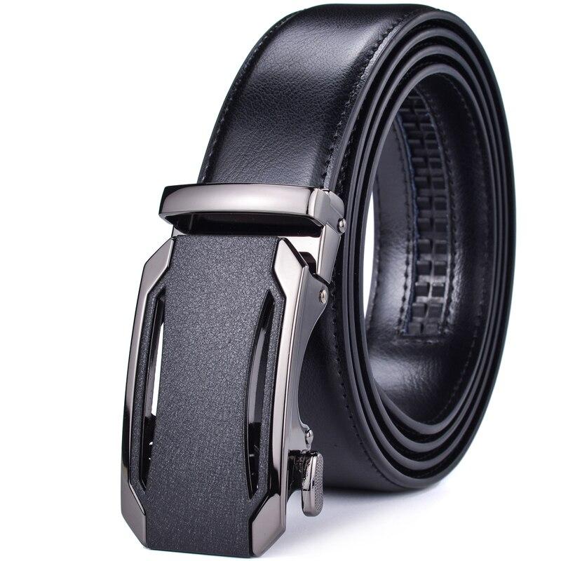 Men's Belt, Genuine Leather Belt Slide Ratchet With Automatic Buckle Belts For Men