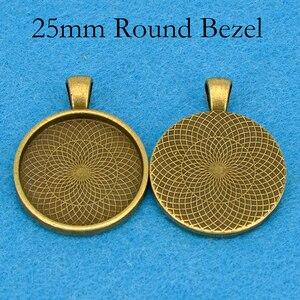 Image 3 - Plateau à pendentif plaqué argent, cadre de résine à pendentif rond, cadre de Cabochon de 25mm, cadre de résine, 25mm, 100 pièces