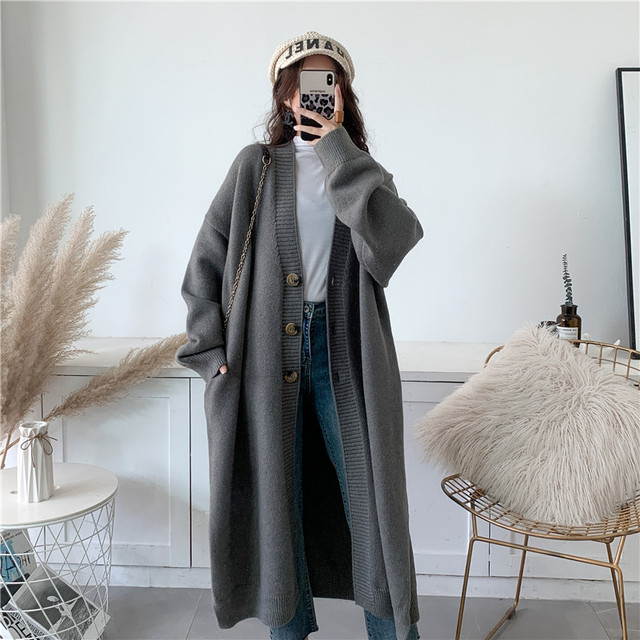 [EAM] Gray Big Size Long Knitting Cardigan Sweater Loose Fit V-Neck Long Sleeve Women New Fashion Tide Autumn Winter 2021 Y204 6