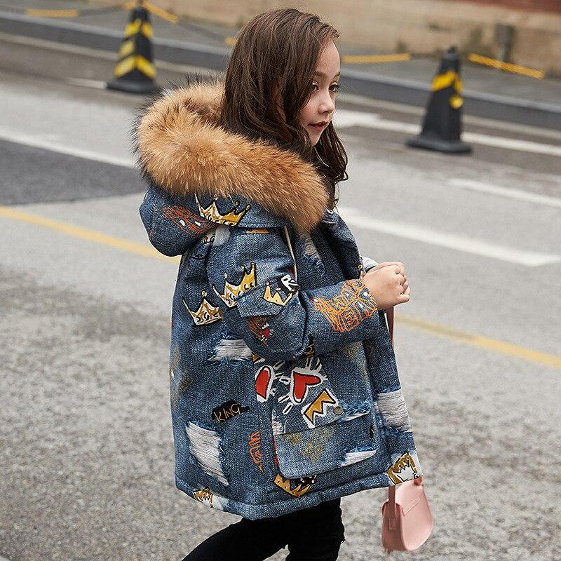 Moda impressão quente crianças jaquetas meninas inverno parkas com grande pele natural adolescente roupas 5 6 8 10 12 anos