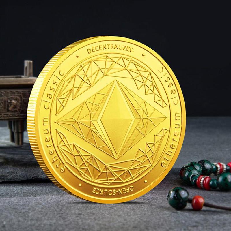 Юбилейная коллекция монет эфириум виртуальный эфир Биткоин ETH золотой серебряный значок сувениры поделки настольные украшения подарок