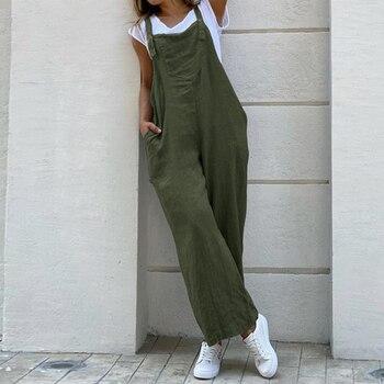 LASPERAL Women Suspender Romper Overall 2020 Vintage Cotton Jumpsuits Playsuits Long Pockets Wide Leg Pants Combinaison Oversize