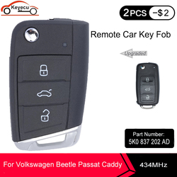 KEYECU Upgraded Remote Key Fob 3 Button for VW Volkswagen Beetle Passat Caddy Eos Polo Jetta 434MHz ID48 Chip 5K0 837 202 AD