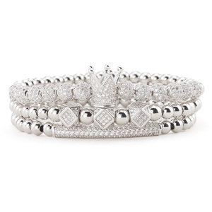 Image 5 - 3pcs/Set Luxury Gold beads Royal King Crown Dice Charm CZ Ball Men Bracelet mens fashion bracelets & bangles for Men Jewelry