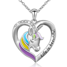 New Jewelry Color Unicorn Necklace Valentine's Day Children's Day Gift Cartoon Horse Drop Oil Pendant for girl kid