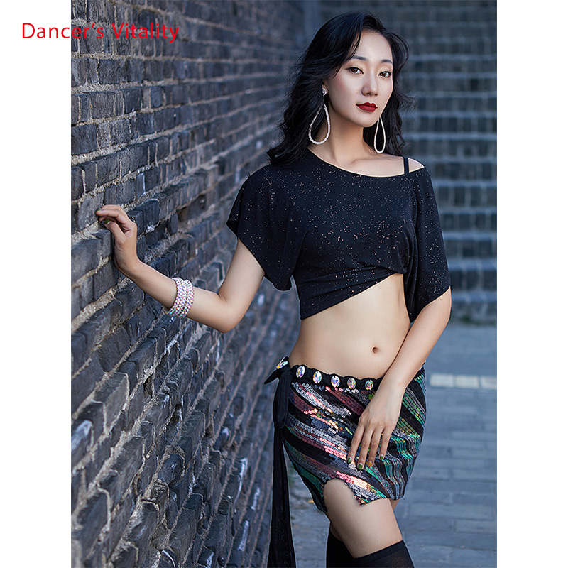 New Women Dance Clothes Short Sleeves Stretchy Lrregular Belly Dance Long Skirts+Top(With under-shorts)