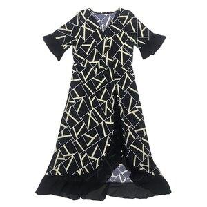 Image 5 - L 5XL女性パーティーュアルルーズセクシーエレガントなファッション半袖プラスサイズ秋赤、黒、黄色エレガントな女性のカクテルドレス