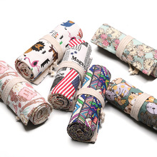 Pencil Case 36 Holes School Supplies Art Pen Bag Pouch Canvas Pen Wrap Roll Makeup Cosmetic Brush Pen Storage Stationery Student цена