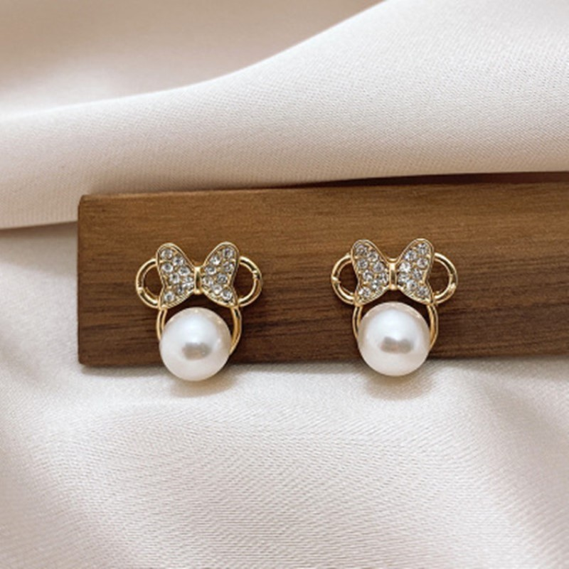 Simple Bow Small Earring Korean Crystal Pearl Stud Earrings For Women Fashion Ear Jewelry Wedding Gift Mujer Boucle D'oreille