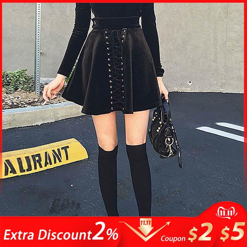 Женская мини-юбка трапециевидной формы с высокой талией, элегантная плиссированная Весенняя модная уличная одежда черного цвета для девуш...