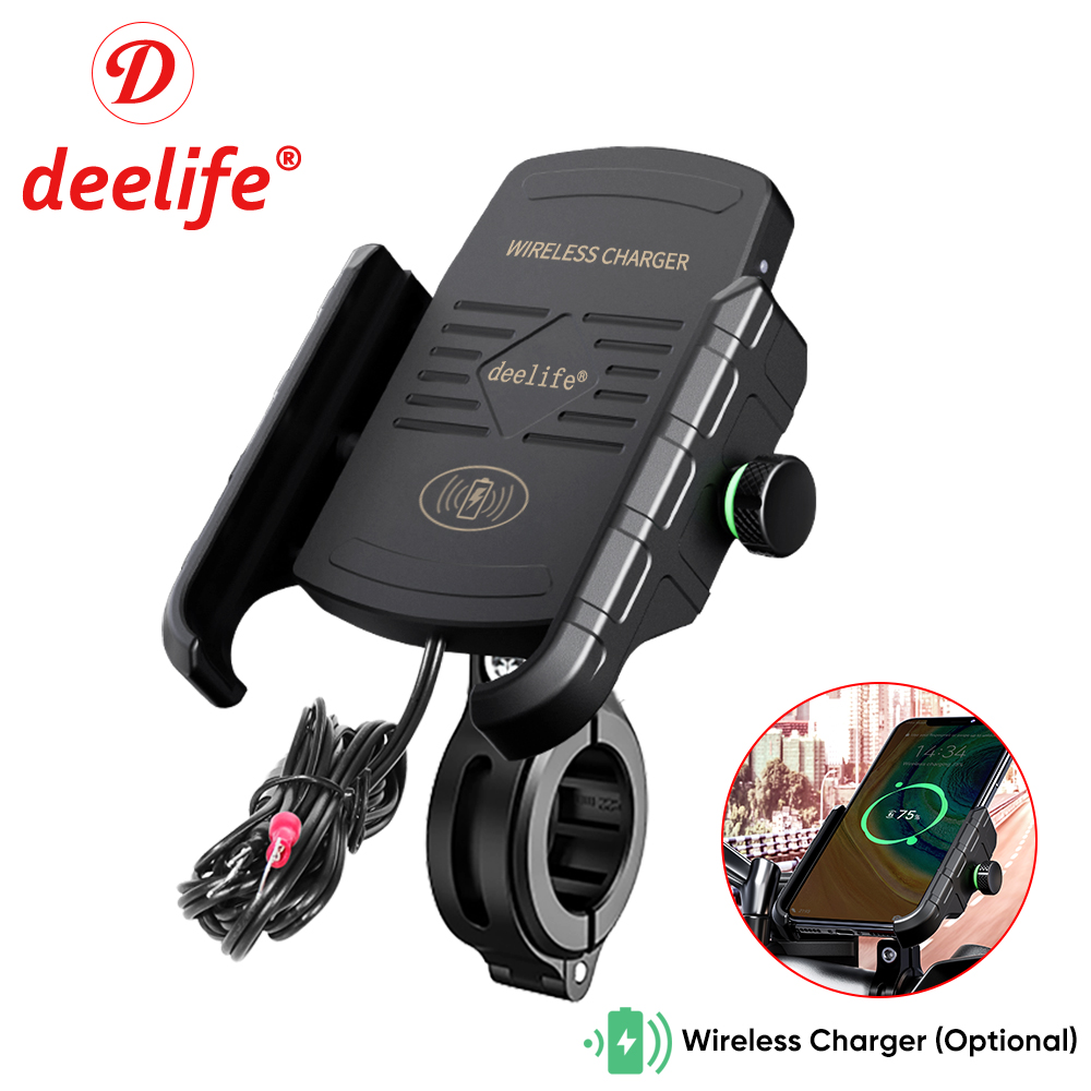Deelife Motorcycle Mobile Phone Holder Stand Mount For Moto Motorbike Cell Phone GPS Support With Waterproof QC 3.0 USB Charger