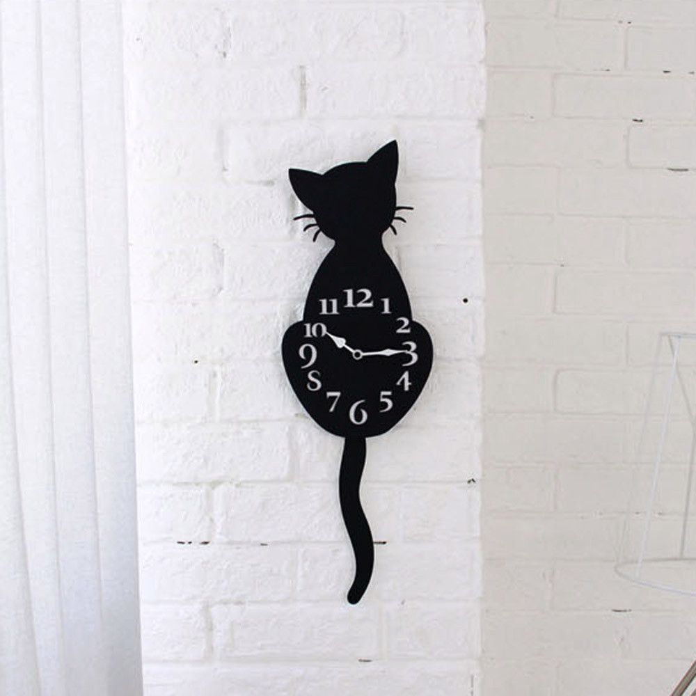 Art-Decal Wall-Clock Watch-Way Living-Room Home-Decor Creative Cartoon Silence Cat Cute title=