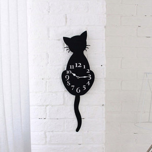 Creative Cartoon Cute Cat Wall Clock Home Decor Watch Way Tail Move Silence Wall Clock Home Decoration Art Decal for Living Room(China)