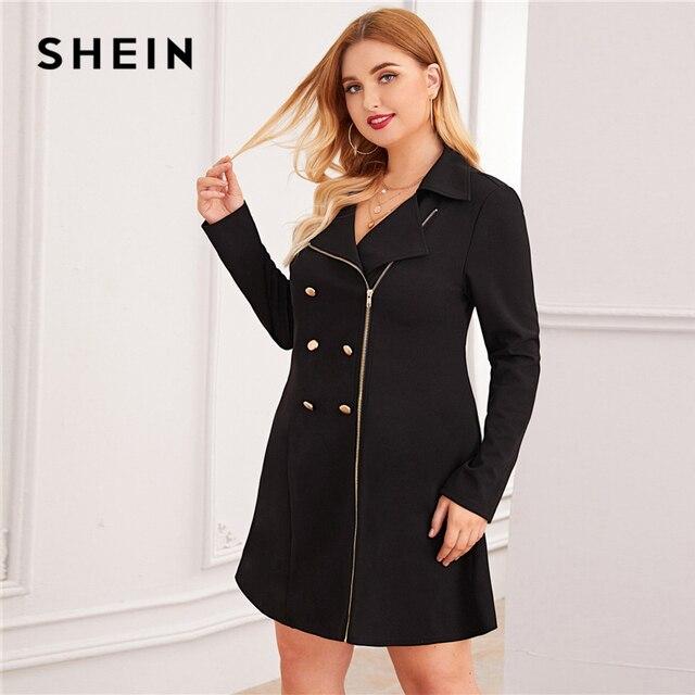 SHEIN Plus Size Black Zipper Front Double Button Blazer Dress Women Autumn Lapel Collar A Line Elegant Plus Mini Dresses 2
