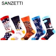 SANZETTI бренд Новые счастливые мужские носки яркие красочные космические животные узор Повседневные носки смешной подарок Свадебные носки