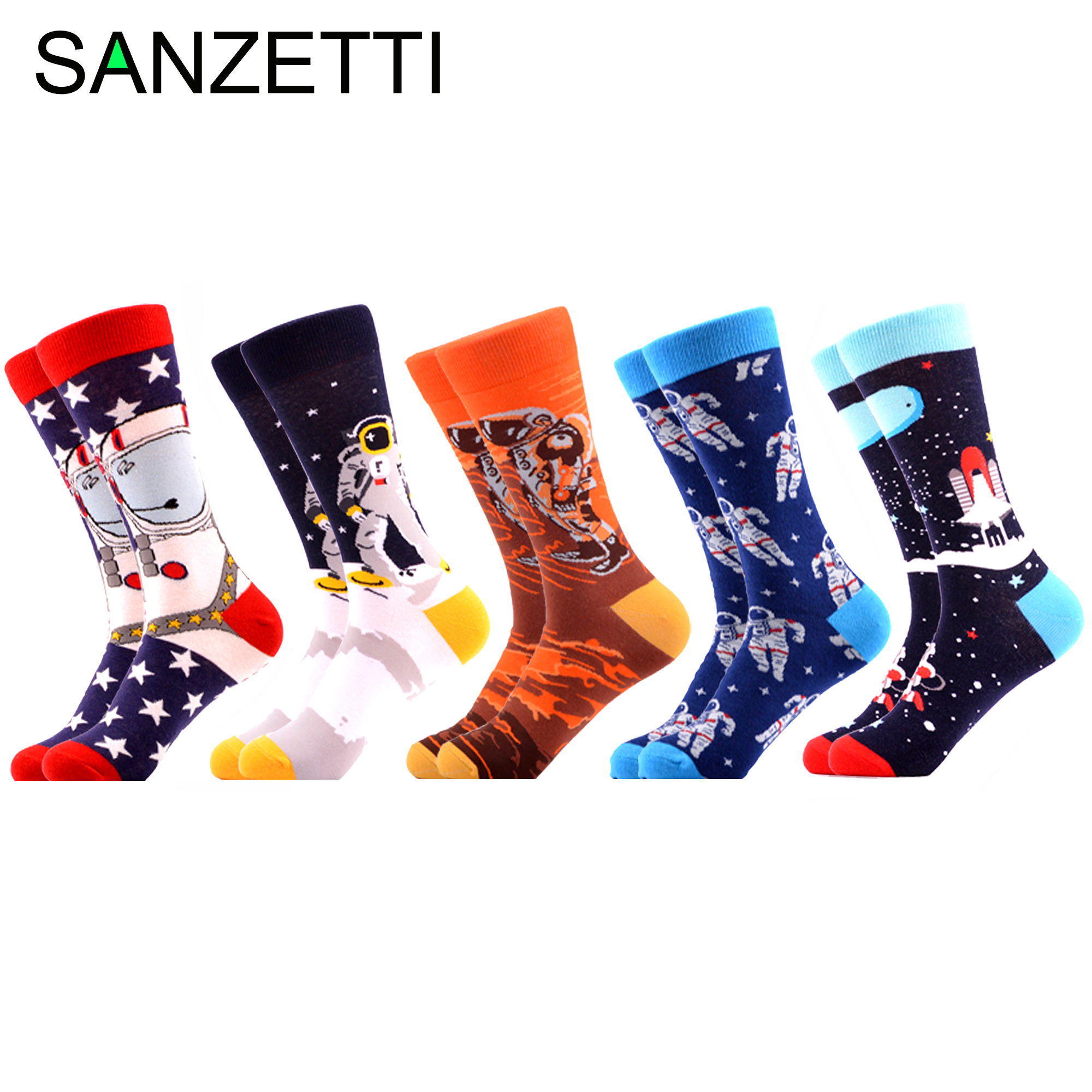 SANZETTI Brand 2020 Men Socks New Bright Colorful Space Animal Novelty Pattern Causal Dress Socks Funny Gift Happy Wedding Socks